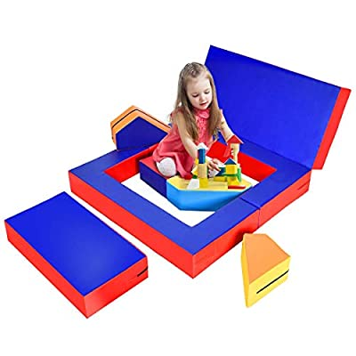 GYMAX Kids Foam Sofa, 4-in-1 Multifunctional Foam Play Set Climbers & Play Structures with Soft High-Density EPE Filler & Durable PU Surface, Non-Slip Climb Crawl for Children (Multicolour)
