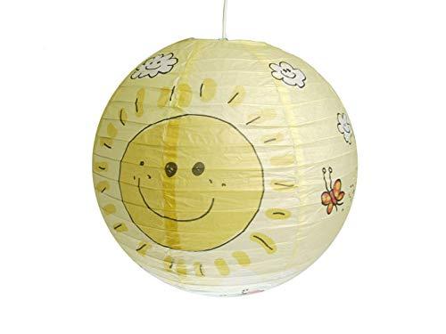 Papierlampe fürs Kinderzimmer - Lampenschirm mit SONNEN Motiv - Pendelleuchte mit Aufhängung
