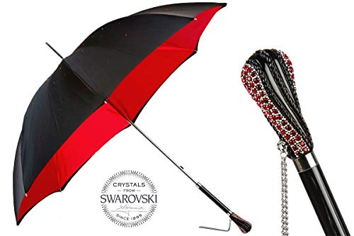Lowest Price! Pasotti 185N Plat-26 Plat-34 S8 - Black Swarovski Umbrella with Red Interior. Double C...