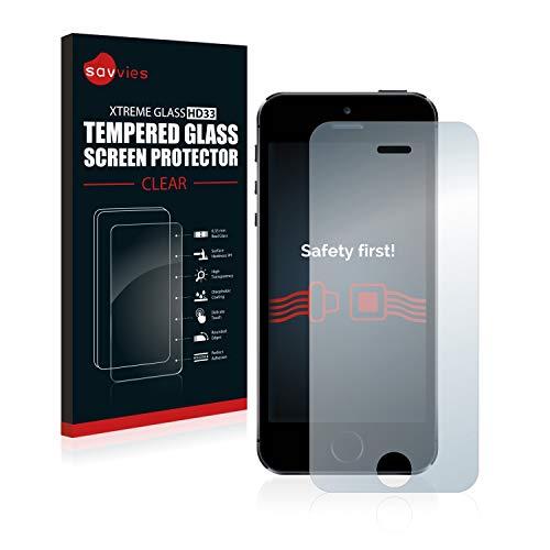 savvies Cristal Templado Compatible con iPhone 5 / 5S / 5C / SE 2016 Protector Pantalla Vidrio Proteccion 9H Pelicula Anti-Huellas