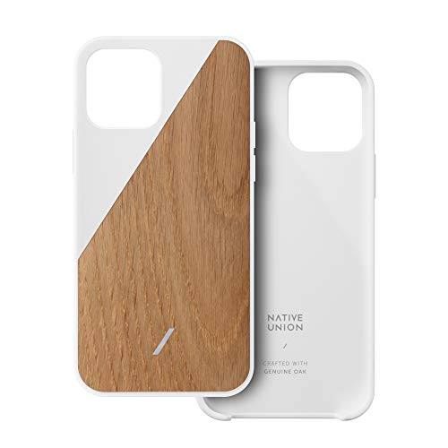 Native Union Clic Wooden Case – Crafted with Genuine American Oak Wood – Slim & Lightweight Cover – Unique Natural Wood Grains – Compatible with iPhone 12, iPhone 12 Pro (Oak/White)