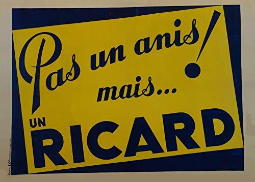 Vintage bieren, wijnen en sterke drank 'Geen anijs! Maar een Ricard', Frankrijk, 1910, 250gsm Zacht-Satijn Laagglans Reproductie A3 Poster
