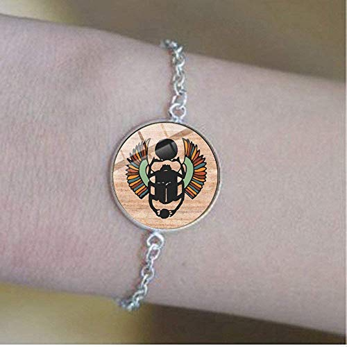 Pulsera de amuleto de escarabajo egipcio, diseño de animales de Egipto antiguo