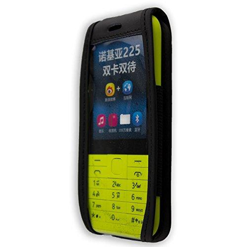 caseroxx Ledertasche mit Gürtelclip für Nokia 225 aus Echtleder, Handyhülle für Gürtel (mit Sichtfenster aus schmutzabweisender Klarsichtfolie in schwarz)