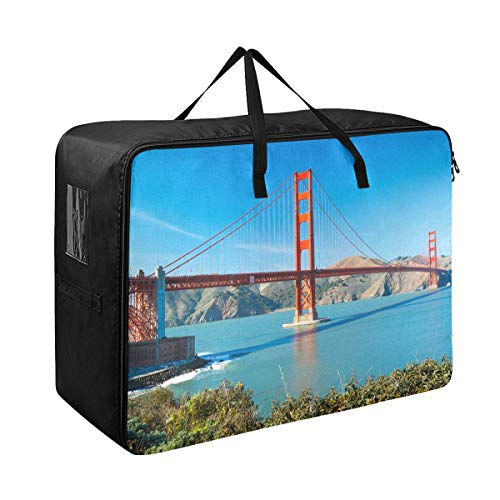 The Golden Gate Bridge In San Francisco Extra Large Storage Bag Space Saving Laundry Bag Comforter Quilt Bedspread Pillow Luggage Moving Tote Garment Closet Storage Organizer Travel Cargo Duffel Jumbo