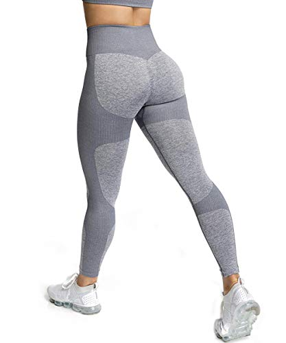 ShinyStar Damen Sport Leggings Lange Blickdicht Yoga Leggings Kompressions Figurformende Sporthose Fitnesshose mit Hohe Taille Grau XL