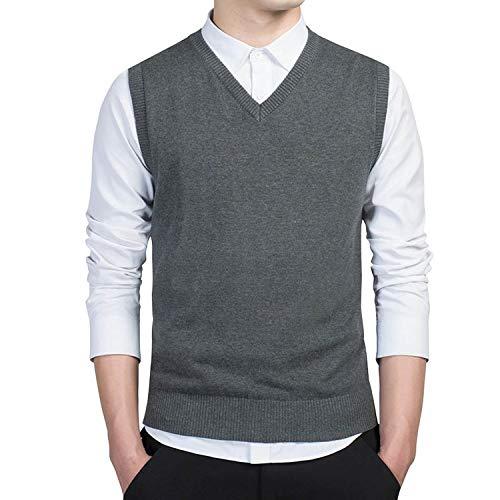 Sweater Men Autumn V Neck Slim Vest Sweaters Sleeveless Men's Warm Sweater,Dark Blue 7789,M