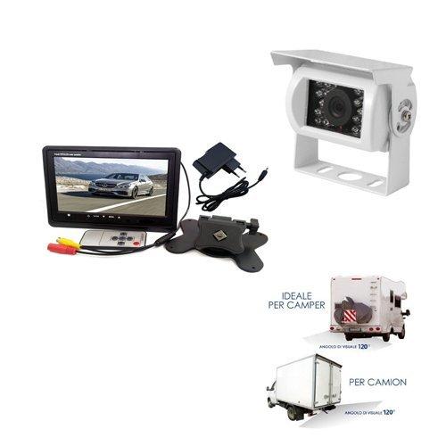 Kit Retromarcia Telecamera 18 Led piu Monitor 7 Pollici