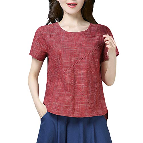 Find Cheap Lovor Shirts for Women Summer Patchwork Cotton Linen O-Neck Short Sleeved Loose Solid Top...