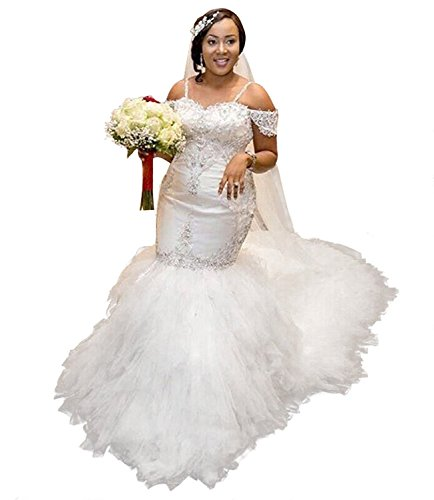 Fanciest Women's Off Shoulder Lace Wedding Dresses for Bride 2020 Mermaid Bridal Gowns White US10