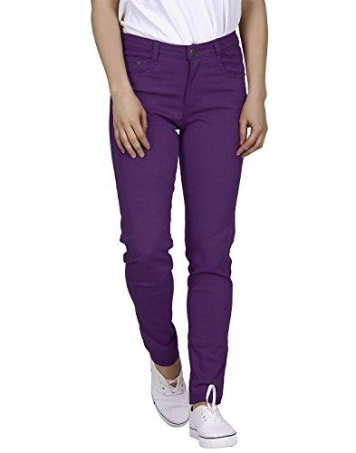 HDE Women's Mid-Rise Stretchy Denim Slim Fit Skinny Jeans (Purple, Medium)