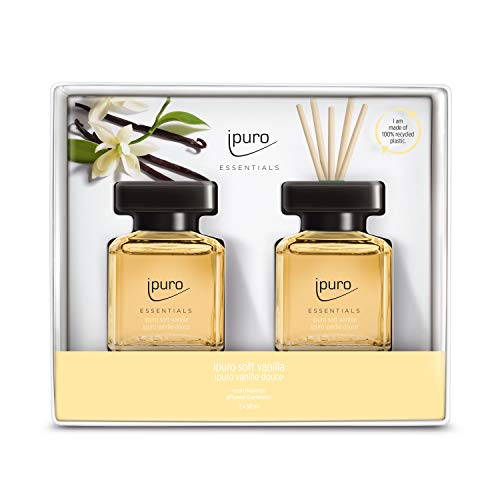 ipuro Essentials Raumduft soft vanilla 2x50ml - hochwertiger Lufterfrischer - Raumduft-Set für ein köstliches, gutes Raumklima – umweltfreundliches Design