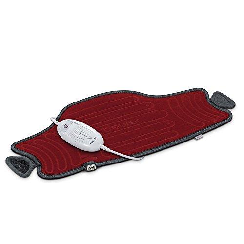 Beurer HK55 - Almohadilla electrónica cervical / lumbar con superficie suave y transpirable, cinturón ajustable, 3 potencias, 100 W, lavable, apagado automático 90 mins, color granate