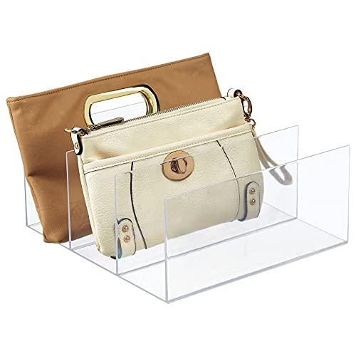 mDesign Expositor de plástico para bolsos de mano – Prácticos soportes para carteras, monederos, billeteros, etc. – Organizador de bolsos con 3 ranuras – transparente