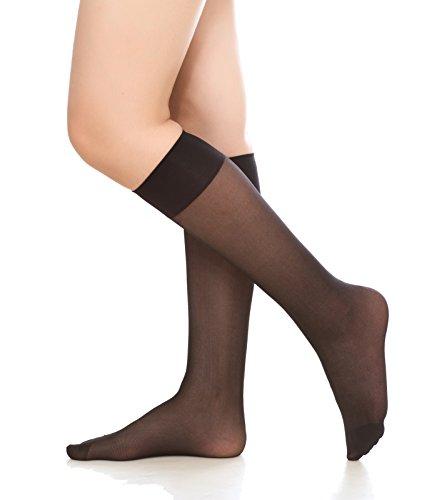 Women's 6 Pack Silky Sheer Knee High trouser socks reinforced toe(black)
