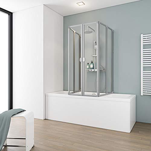 Schulte Duschabtrennung faltbar für Badewanne 70-80 cm, einfacher Aufbau, 3 mm Sicherheitsglas Klar hell, alunatur, langlebig, D1700 01 50