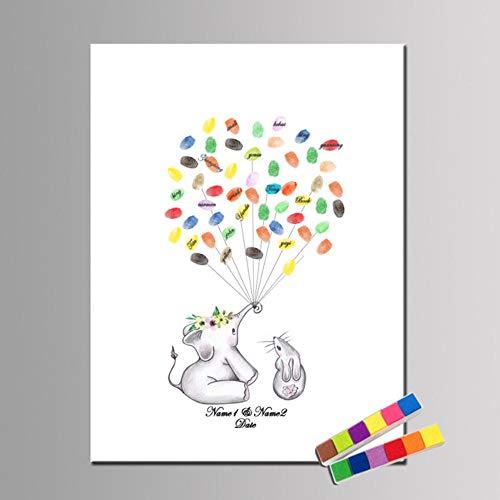 Huellas digitales Árbol de inicio de sesión Elefante y conejo Libro de visitas creativo Recuerdo para Baby Shower Fiesta de cumpleaños