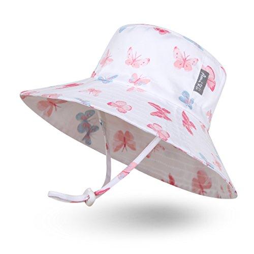Ami & Li tots Niña Sombrero de Sol Bob Ajustable para Bebé Niña Niño Infantil Niños Pequeños Sombrero Protección Solar UPF 50 Unisexo-M:Mariposas Pastel
