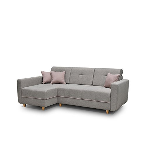 Mirjan24 Ecksofa Eckcouch Grey! Sofa Couch mit Bettkasten und Schlaffunktion, Hochelastischer Schaumstoff HR, Funktionssofa L-Form Schlafsofa Bettsofa (Ecksofa Links, Enzo 161 + Enzo 152)