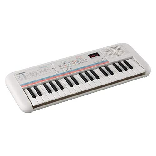 Yamaha Digital Keyboard Remie PSS-E30, Tastiera Digitale per Bambini Portatile e Leggera, Con 37 Mini Tasti e Funzioni di Apprendimento, Compatibile con le Cuffie Yamaha HPH, Bianco