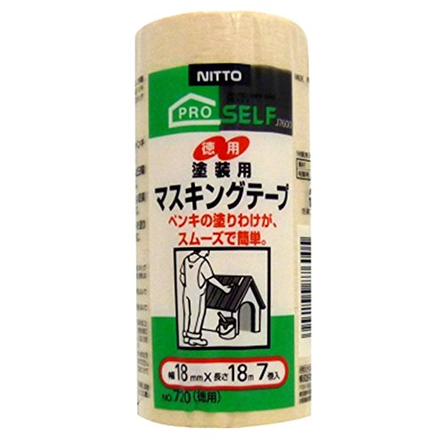 日東電工 建築塗装用マスキングテープ ��720 徳用18mm×18m 7巻入り [養生テープ]