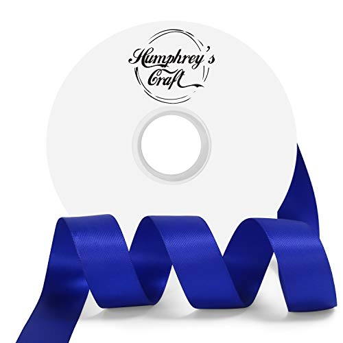Humphrey's Craft 1 Inch Cobalt Blue Double Faced Satin Ribbon - 50 Yards Variety of Color for Crafts Gift Wrapping Bows Bouquet Decoration Sewing Christmas Tree Wedding Invitation Card.