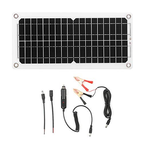 KKmoon - Panel solar monocristalino de 120 W, 12 V, con conector USB, panel solar, fotovoltaico, sin red, con cables de conexión SAE para camping, coche, barco, caravana, casas de jardín