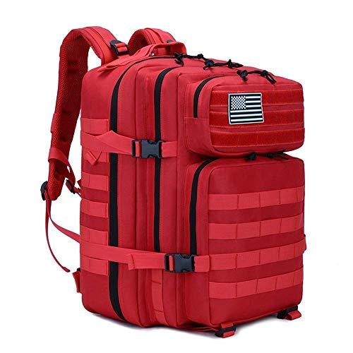XIAO HUI Taktischer Rucksack, 45 l, große Kapazität, 3 Tage, Armee-Angriffs-Rucksack für Wandern, Trekking, Klettern, Unisex (rot)