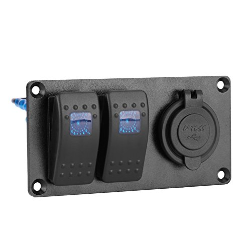 Wippschalter Panel , 12-24V 2 Gang Blau LED Bar Schalter Panel mit 3.1A USB Port Wasserdicht Professionelles Design