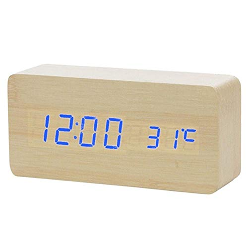 Wekker LED Houten wekker Digitale Led licht tafelklok Wake Up Light Electronic Grote Tijd Temperatuur Display Luminous (Color : Bamboo blue word, Size : Free)