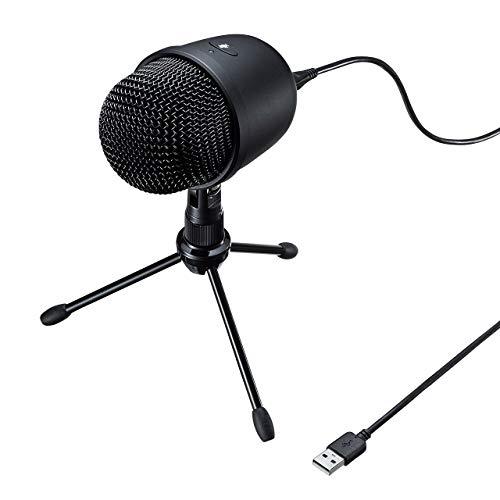 サンワサプライ レコーディングUSBマイク スタンド付き 単一指向性 Skype対応 ゲーム実況/動画投稿 MM-MCU04BK