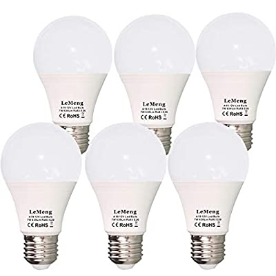 12V LED Bulb E26 7W 630Lm 12 Volt Low Voltage Lights AC/DC 11-16V E27 A19 Edison Lamp(3000K Warm White)40-60 Watt Bulbs Equivalent-12volt - 6 Pack