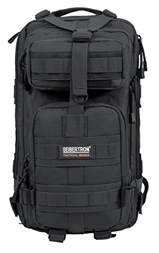 Seibertron Falcon Taktischer Militärischer Rucksack Kompakt Angriff für Wandern Reisen Trekking Tasche Tactical Bag Assault Backpack Military Camping Pack Outdoor Daypacks (Black 27L)