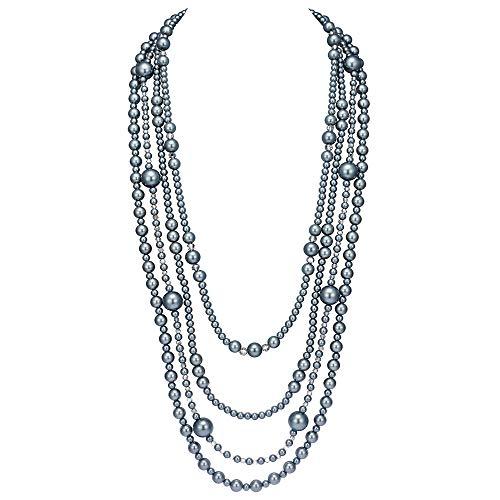 Coucoland 1920s Halskette Imitation Perlen Retro Stil Multi Schichten Lange Perlen Kette Great Gatsby Party Zubehör Damen Karneval Accessoires (4 Schichten-Grau)