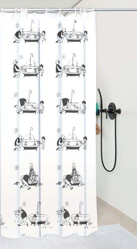Duschvorhang SANWOOD Vater und Sohn 200 x 180 cm, weiß/schwarz