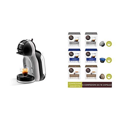 De'Longhi Nescafé Dolce Gusto Mini Macchina per Caffè Espresso e Altre Bevande Automatica Black & Artic Grey + Kit Degustazione di Caffè Espresso Barista Espresso Ardenza ed Essenza di Moka 96 Capsule