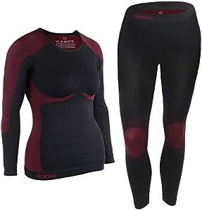 ALPIDEX Ropa Interior para esquí, térmica y Funcional para Mujer - Transpirable, cálida y de Secado rápido, Tamaño:l/XL, Color:Negro-Rojo