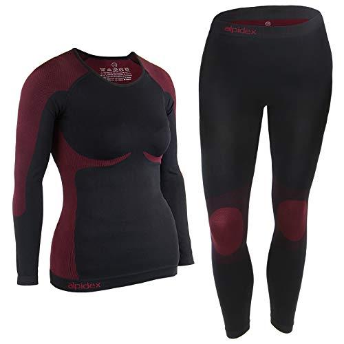 ALPIDEX Ropa Interior para esquí, térmica y Funcional para Mujer - Transpirable, cálida y de Secado rápido, Tamaño:S/M, Color:Negro-Rojo