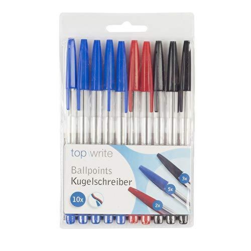 * Confezione da 10 penne rosse, nero e blu, marca Top Write