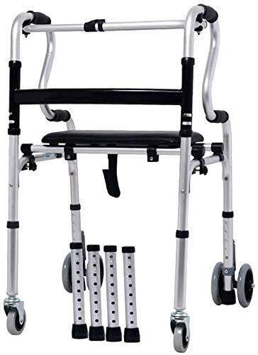 BXU-BG Rollstuhl Aluminium Walker Rehabilitation Gehtraining Rahmen One-Button Folding, Portable Storage, mit...