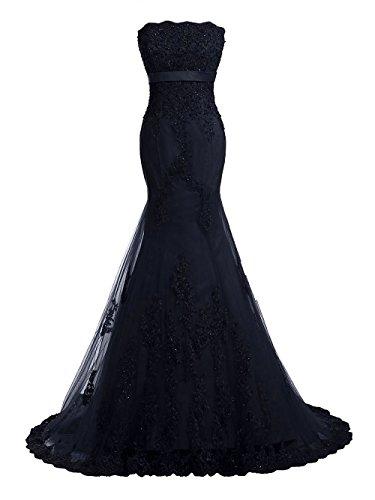 JAEDEN Abendkleider Lang Ballkleider Meerjungfrau Hochzeitskleider Festkleider Damen Spitze Marineblau EUR34