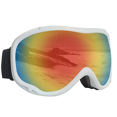 Meowtutu Skibrille Snowboard Brille, Rahmenlose Snowboardbrille Doppel-Objektiv UV-Schutz Anti-Fog Ski Goggles mit Magnet Wechselobjektive Brille Für Damen Herren, Silber (Rot-02 VLT 16,87%)