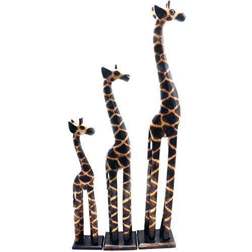 Gall&Zick Holz Figur Dekoration Giraffe Bali Deko Garten Wohnung Statue Tier Tiermotiv (Klein + Mittel)