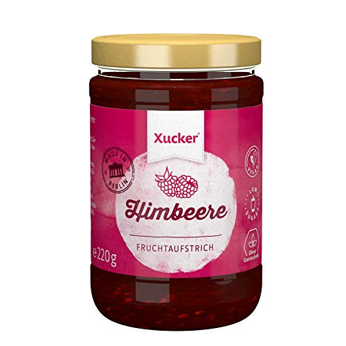 Himbeere Fruchtaufstrich mit Xylit | Süßer Brotaufstrich von Xucker | Ohne Gentechnik | Vegan | zuckerarm | 220 g Glas | 74 % Fruchtanteil