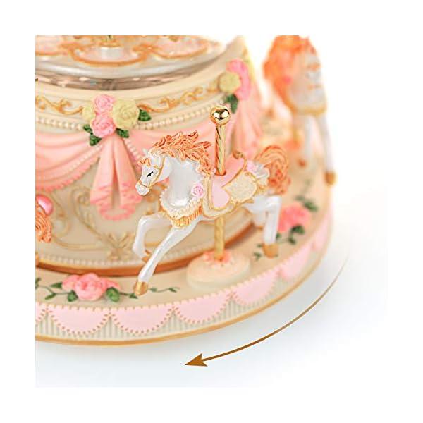 Carousel Snow Globe Music Box - 8 Horse Blue Snowglobe Anniversary Christmas Birthday Gift for Wife Daughter Girlfriend… 7