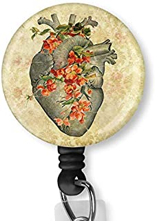 Heart Flower with Alligator Clip Nurse Badge ID Card Name Tag Custom Badge Holder Nurse Decorative Badge Reel Clip on Card Holders Badge Clip