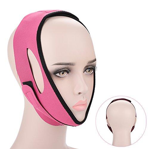 Gesicht Bandage Facial Slimming Mask Gesichtsgürtel für Gesichtspflege Thin Neck Facelift Doppelkinn für Damen(Rosenrot)