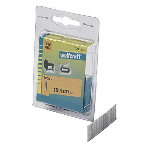Wolfcraft 7241000 (L) clavos tipo 062 PACK 1000, plata, 19mm, Set Piezas