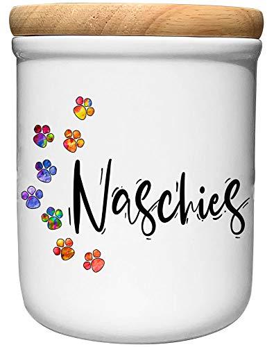 Cadouri Keramik Leckerli-Dose » Naschies «┊Snackdose Keksdose Aufbewahrungsdose┊mit Holzdeckel