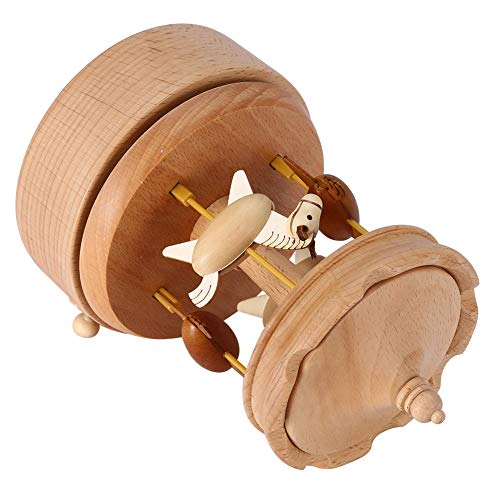 Weikeya Exquisita caja de música, parte superior de las agujas del reloj con madera de haya rotación en sentido horario y grano de madera